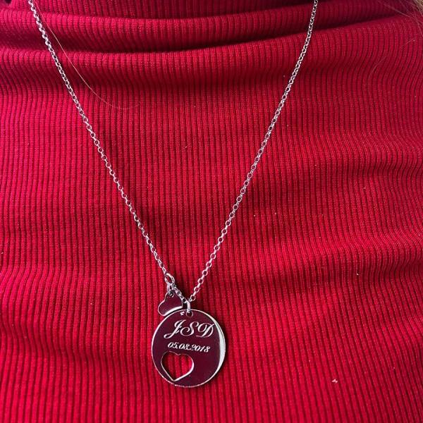 Srebrna ogrlica sa srcem i graviranjem teksta po želji - srebrni privezak i srebrna ogrlica zajedno