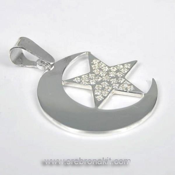 Srebrni privezak polumesec i zvezda sa cirkonima