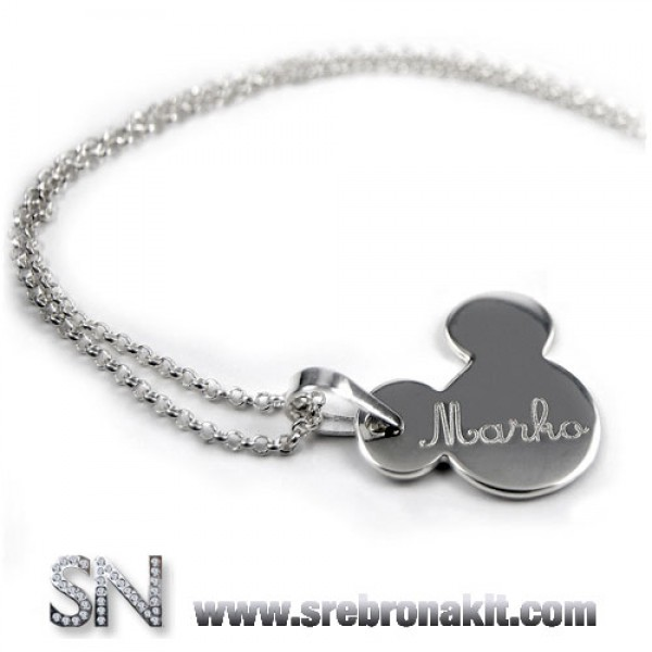 Srebrni Privesci - Srebrni medaljon - Privezak - Miki Mouse sa izgraviranim imenom