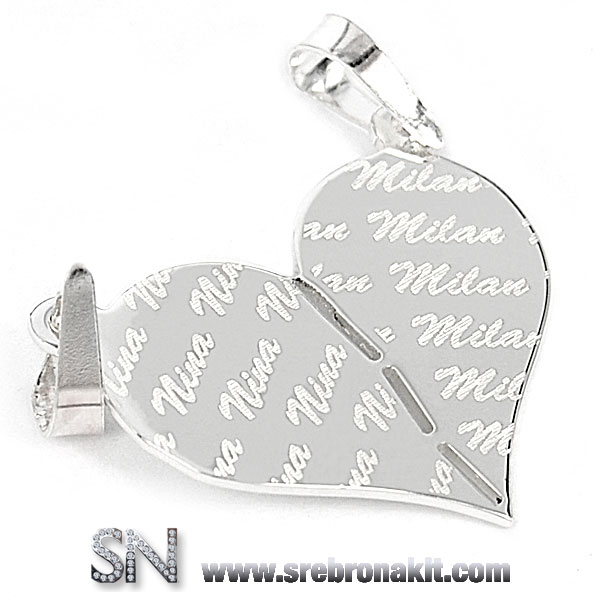 Srebrni Privesci - Srebrni medaljon - puno srce iz dva dela za zaljubljene - sa izgraviranim imenima