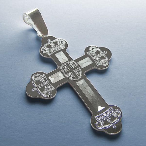 Srebrni Pravoslavni krst - srebro 925 - gravirani krst sa 4 krune i stitom u sredini
