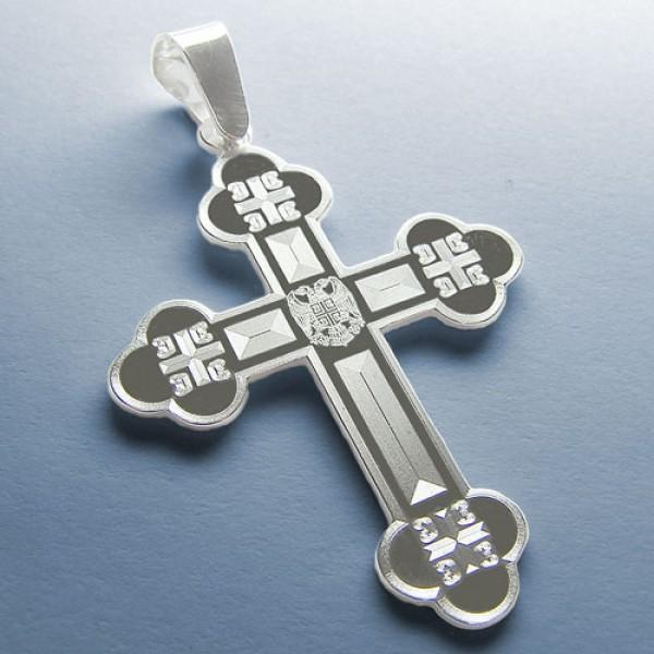Srebrni privezak pravoslavni krst - Krst sa 4S u kracima i gravurom