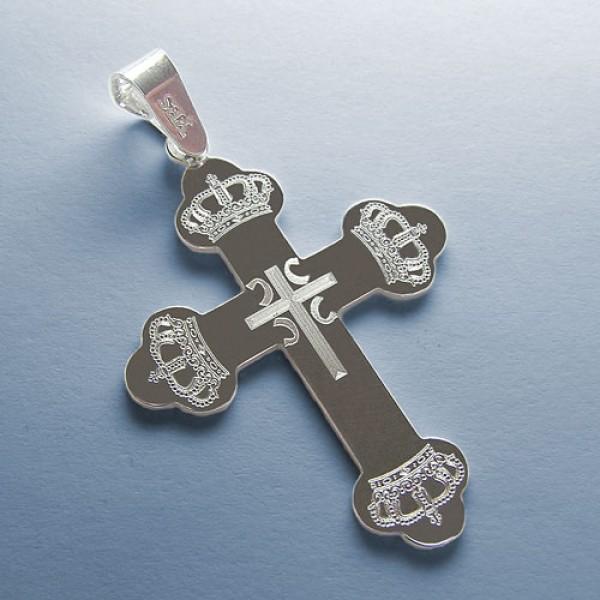 Srebrni privezak pravoslavni krst - Krst i Krune