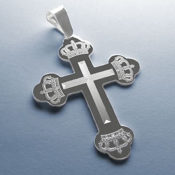 Srebrni pravoslavni krst - Krst i Krune 2