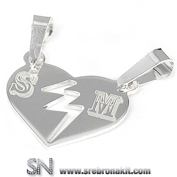 Srebrni Privesci - Srebrni medaljon - srce iz dva dela za zaljubljene - sa izgraviranim inicijalom