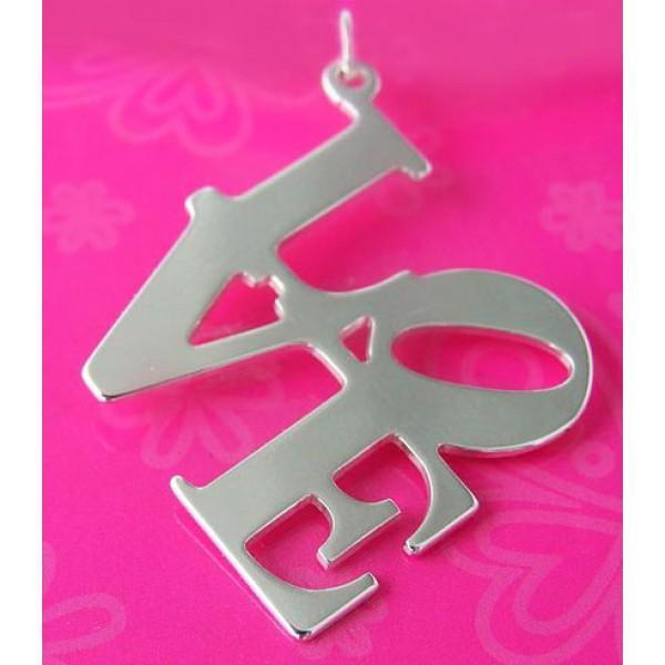 love medaljon - srebrni natpis ljubav