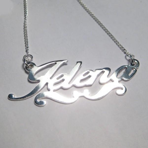 Lančić sa imenom - tanki pisani font - sa ukrasom