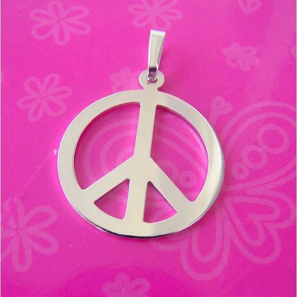 hipi srebrni medaljon - hippie nakit - peace znak